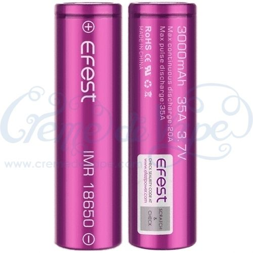 Pair of Efest IMR18650 batteries in case