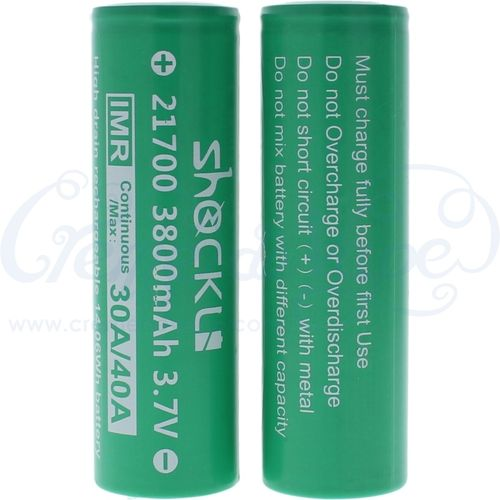 Pair of ShockLi 21700 3800mAh batteries in case