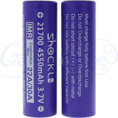 Pair of ShockLi 21700 4550mAh batteries in case