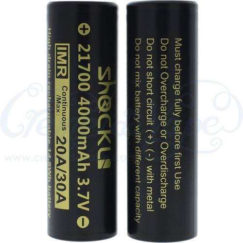 Pair of ShockLi 21700 4000mAh batteries in case